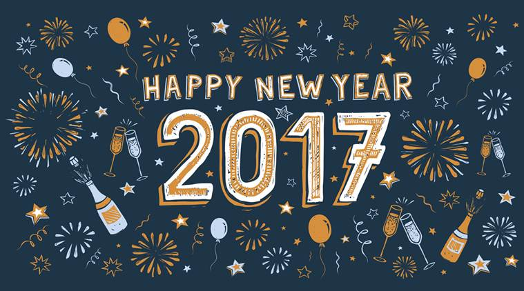 Happy New Year 2017 doodle card with fireworks, stars, confetti and balloons. vector, eps 8., vector, eps 8.